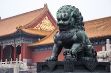Free Chinese Copper Lion Stock Photos - 19531963