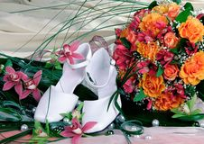 Free Bride S Boquite And Shoes Stock Photos - 19532733