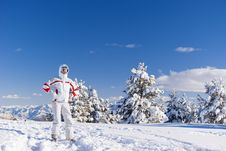 Free Serious Skier On The Top Of Mountain Royalty Free Stock Image - 19532856