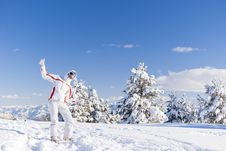 Free Happy Skier On The Top Of Mountain Royalty Free Stock Image - 19532866
