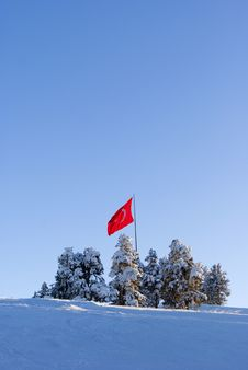 Free Flag Of Turkey Of The Top Of Mountain Stock Images - 19532894