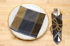 Free Knife And Fork In Textile Napkin Stock Photo - 19532960