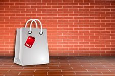Free Bag Sale On Brick Wall Royalty Free Stock Image - 19534826
