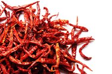Free Dried Red Peppers On White Background Royalty Free Stock Photo - 19535105