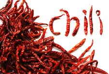 Free Dried Red Peppers On White Background Stock Photography - 19535122