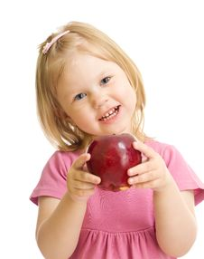 Little Girl Portrait Eating Red Apple Isolated Royalty Free Stock Photo