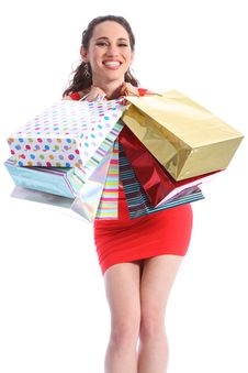 Beautiful Woman Excited After Shopping Trip Royalty Free Stock Images