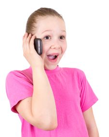 Free The Girl With Astonishment Speaks On The Phone Stock Photography - 19537662