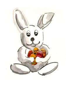 Bunny Holding Easter Eggs Stock Image