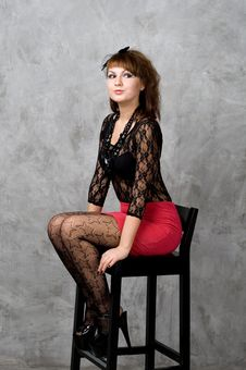 Free Cute Gothic Girl Sitting On Chair Royalty Free Stock Photos - 19538188
