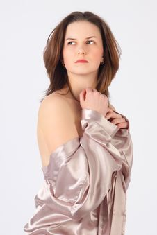 Free The Thoughtful Girl In A Silvery Dressing Gown Stock Image - 19538431