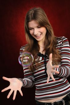 Free Young  Girl Catch Soap Bubbles Stock Images - 19538614