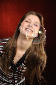Free Young  Girl Catch Soap Bubbles Stock Photos - 19538623
