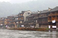 Boats And Wooden Houses At Fenghuang Stock Images