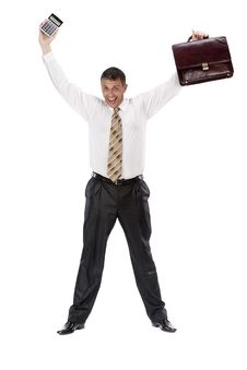 The Successful Emotional Businessman Royalty Free Stock Images