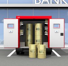 Free Oil In Golden Barrels Royalty Free Stock Photo - 19539675