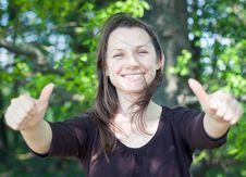 Free Woman Showing Thumbs Up. Stock Image - 19539711