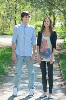 Free Young Couple Walking Together In Park Stock Photography - 19539802