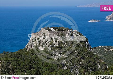 Monolithos castle Stock Photo