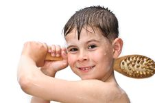 Free A Boy Swims In The Bathtub Royalty Free Stock Images - 19540089