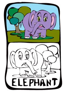 Free Coloring Book Page: Elephant Stock Photos - 19541533