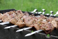Free Juicy Pork Shashlick Is Prepared On Barbecue Stock Photo - 19541700