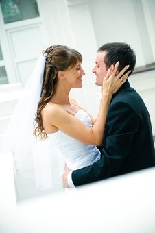 Free Groom And Bride Embrace. Look Against Each Other Royalty Free Stock Photos - 19541708