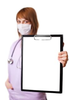 Free Portrait Of Young Doctor Holding Whiteboard Royalty Free Stock Photos - 19542808