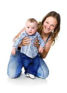 Free Pretty Young Women With Her Son Stock Photography - 19543072