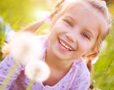 Free Cute Little Girl  On The Meadow Royalty Free Stock Photo - 19543225