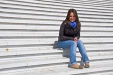 Free Young Woman Sitting On The Marble Steps Royalty Free Stock Image - 19543586