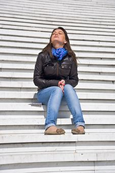 Free Woman Sitting On The Marble Steps Royalty Free Stock Images - 19543609