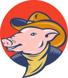 Free Pig Cowboy Hat And Bandanna Stock Photos - 19544293