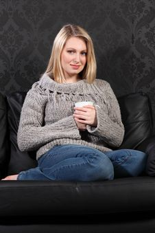 Happy Young Woman Feet Up Enjoying Coffee Drink Royalty Free Stock Photos