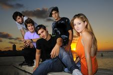 Free Diverse Young Team Posing At Sunset Stock Photography - 19546232