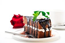 Free A Piece Of Chocolate Cake Royalty Free Stock Photos - 19546568