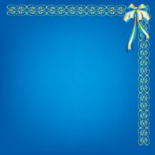 Blue Background With Pattern And Bow Royalty Free Stock Photo
