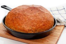 Homemade Bread In Frying Pan Royalty Free Stock Image