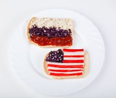 Sandwiches With Flags Of Two Countries Royalty Free Stock Image