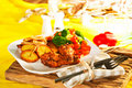 Free Fried Potatoes With Vegetables And Chicken Royalty Free Stock Photos - 19550358