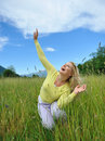 Free Pretty Casual Woman Outdoors In Green Field Stock Photos - 19556173