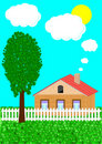 Free The Rural House And Tree Royalty Free Stock Photography - 19556917