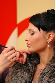 The Woman Put Make-up Stock Photos