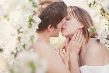 Free Beautiful Young Couple Kissing In The Flowering Ga Stock Images - 19551014