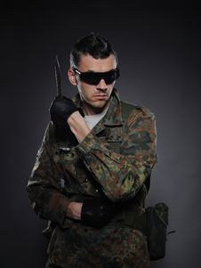Free Soldier In Camouflage And Ammunition With Knife Stock Photo - 19551450
