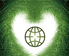 Green Grass On White And Earth Symbol Stock Photography
