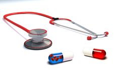 Free Stethoscope With Red And Blue Pills Isolated Stock Photos - 19551903