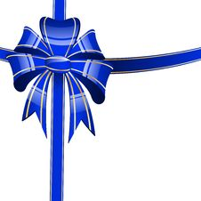 Free Blue Bow On A White Background Stock Image - 19553141