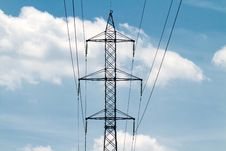 Powerlines In The Blue Sky Stock Image