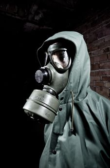 Bizarre Portrait Of Man In Gas Mask Royalty Free Stock Photos